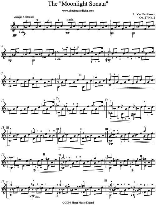 Moonlight Sonata Piano Sheet Music. Moonlight Sonata - Guitar