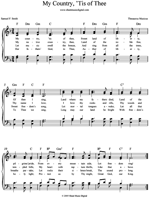 Sheet Music Digital My Country Tis Of Thee Pdf File