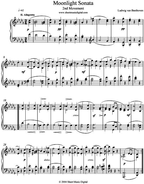 Free Sheet Music For Piano Moonlight Sonata Easy
