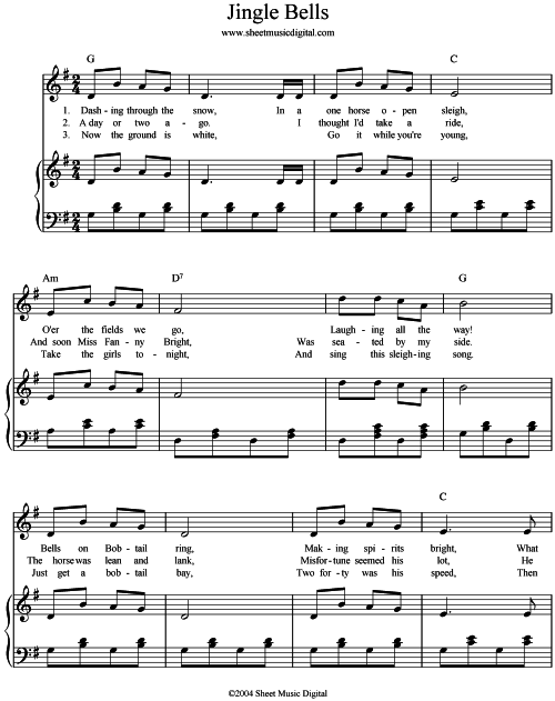 Gallery For u0026gt; Jingle Bells Piano Chords